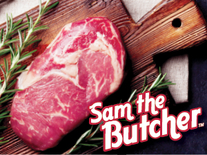 Raw Steak with Sam the Butcher Logo