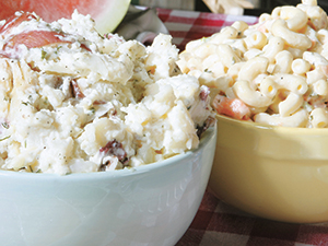 Bowls of Potato and Macaroni Salad