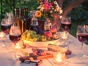 Outdoor Table with Cheeses & Wine