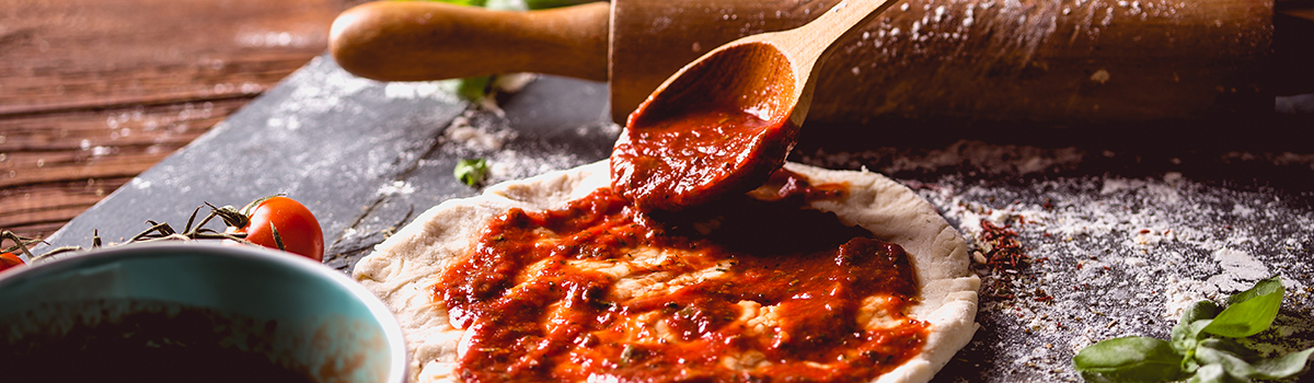 Pizza Dough with Red Sauce