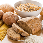Collage of Grains, Bread, Pasta
