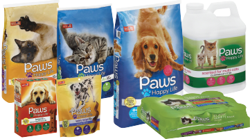 Collage of Paws Happy Life Brand Products