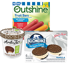 A pint of ice cream, Outshine Fruit Bars and Klondike Ice Cream Sandwiches